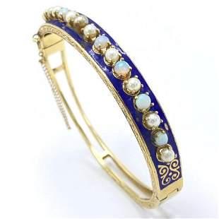 Antique 14k Gold, Enamel, Opal & Pearl Bracelet