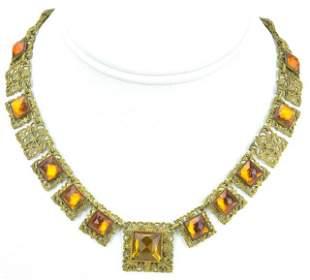 Antique Czech Art Deco Citrine Paste Necklace