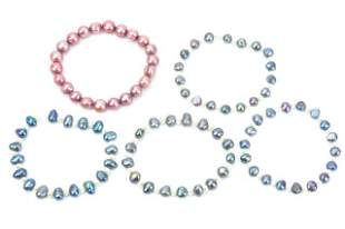 Five Baroque White & Tahitian Pearl Bead Bracelets