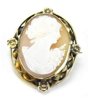 Antique Italian 10kt Gold & Shell Cameo Pendant