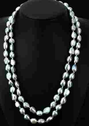 Pair of Silver Tone Baroque Pearl Necklace Strands