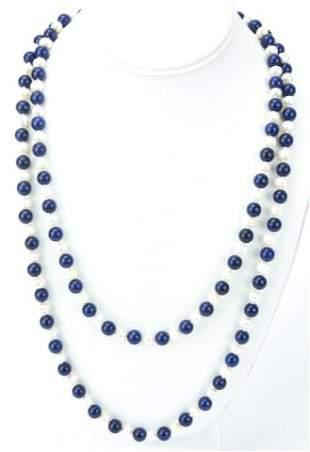 Lapis Lazuli & Baroque Pearl Opera Length Necklace