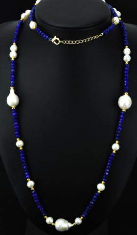 Faceted Sapphire & Cultured Baroque Pearl Necklace