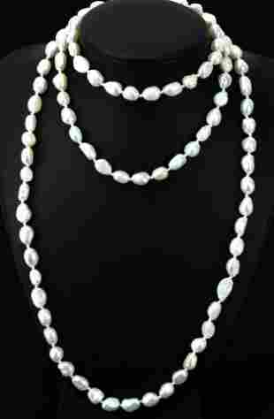 Hand Knotted Baroque Pearl Necklace Strand