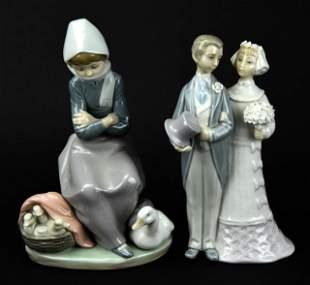 Two Lladro Spanish Porcelain Decorative Statues