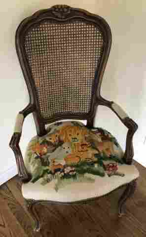 Antique French Country Provincial Carved Armchair