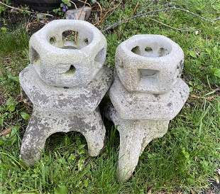Pair Concrete Chinese Pagoda Garden Ornaments