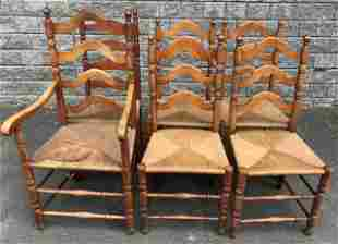 Set of 6 19th C Antique Turned Maple Dining Chairs