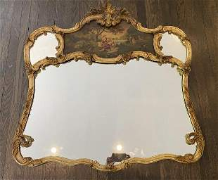 French Louis XV Rococo Style Giltwood Wall Mirror