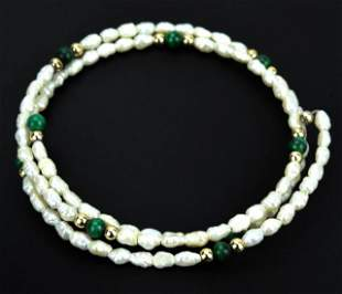 Estate Seed Pearl Malachite & Gold Bead Bracelet