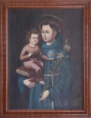 Antique 18th C Oil Painting of Saint Dominick