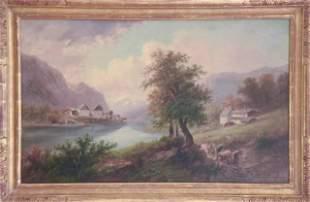 Langlois Antique 19th C Alpine Scene Oil Painting