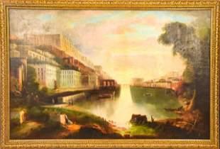 Antique 19th C Edmund C Coates Canal Painting