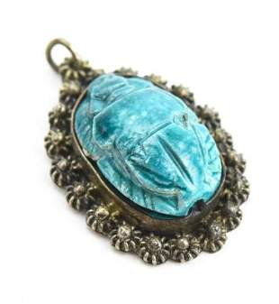 Egyptian Revival Silver Cannetille Scarab Pendant