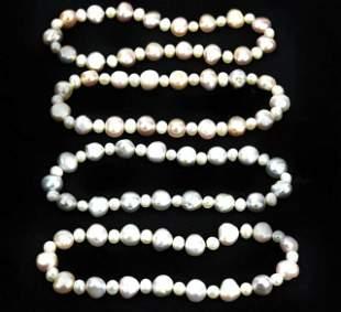 Four Bracelets Set w Cultured Baroque Pearls