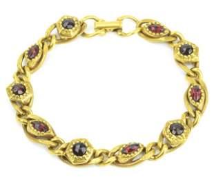 Vintage Costume Jewelry Goldette Garnet Bracelet