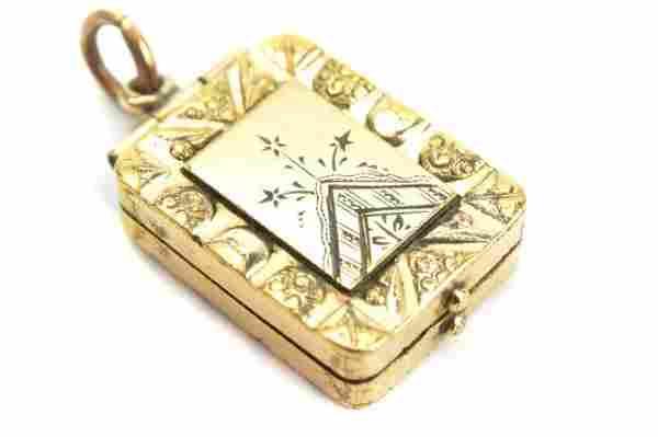 Antique 19th C Gold Locket Necklace Pendant