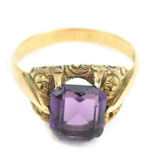 Antique 19th C 10kt Yellow Gold & Amethyst Ring
