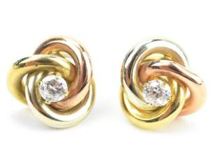 Pair of Estate English 9kt Gold Knot Form Earrings
