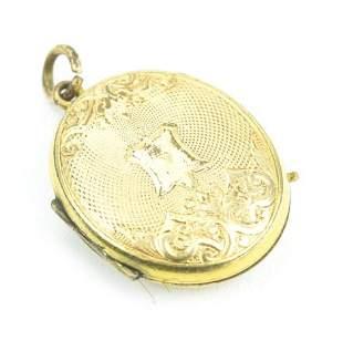 Antique 19th C Gold Locket Pendant w Coat of Arms