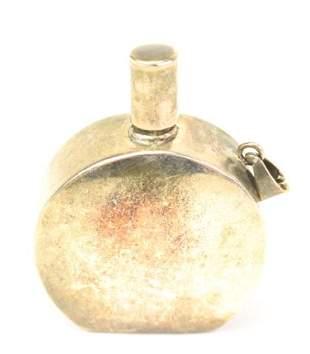 Vintage Silver Perfume Bottle Necklace Pendant