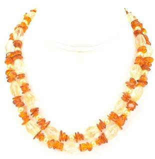 Sterling Rock Crystal Amber Baroque Pearl Necklace