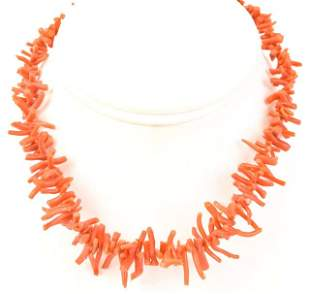 Antique Natural Branch Coral Bead Necklace