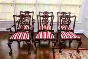 6 Baker English Chippendale Carved Dining Chairs