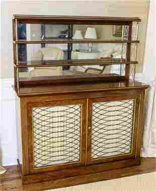 Antique 19th C English Regency Cabinet w Etagere