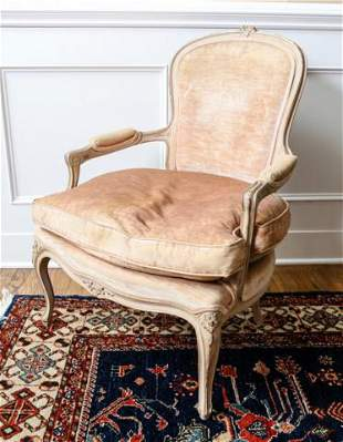 Antique Carved French Provincial Upholstered Chair