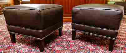 Pair Ethan Allen Leather Ottomans w Nailhead Trim