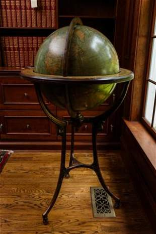 Antique 19th C English W & A K Globe on Stand