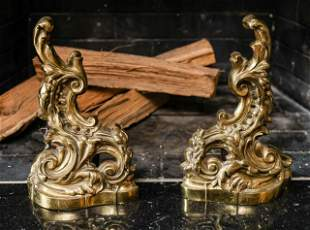 Pair French Rococo Style Ormolu Chenets