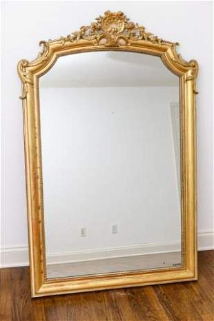5 Foot Antique French Rococo Carved Mirror