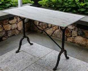 Wrought Iron Marble Top Console Garden Table