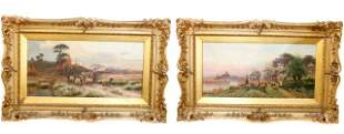 Pair Sidney Pike Oil Paintings English Country