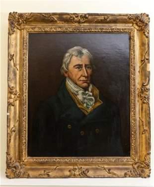 Antique Oil On Canvas Portrait of Gentleman