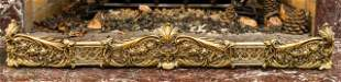 Antique Rococo Style Brass Fireplace Fender