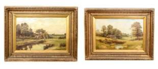 Two M. Corper Landscape Oil Canvas Paintings