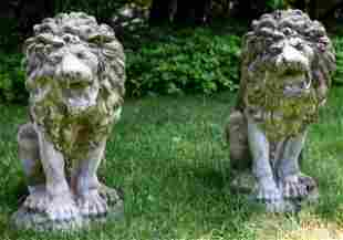 Pair Outdoor Cast Cement Lion Garden Statues