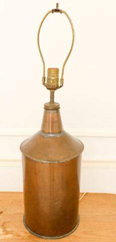 Antique Copper Oil Canister Table Lamp