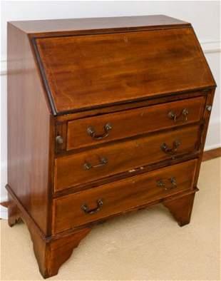 Antique Mahogany Secretary Desk Ebony Inlay