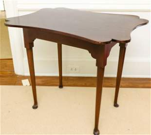 Antique Scalloped Mahogany Top Queen Anne Table