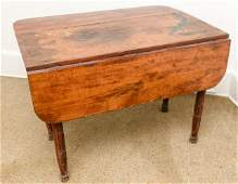 Antique Farmhouse Pine Drop Leaf Table Turned Legs
