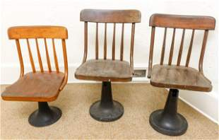 3 Antique Cast Iron & Wood School House Chairs