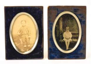 Pair of Antique 19th C Blue Velvet Picture Frames