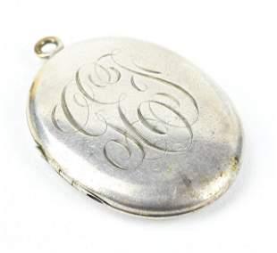 Large Antique Oval Sterling Silver Locket Pendant