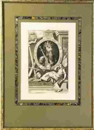 Antique 18th C Framed Engraving of King Edward