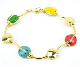 Multi Color Enamel Lady Bug Articulated Bracelet