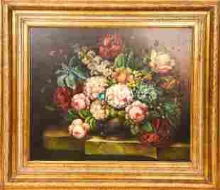Enhanced Floral Still Life Oil Painting Print